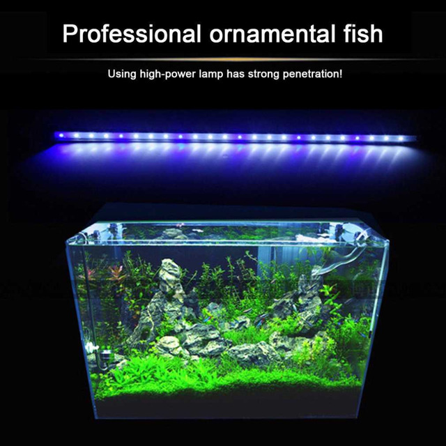2 Colors Aquarium Fish Tank Led Light Amphibious Use White Blue Red