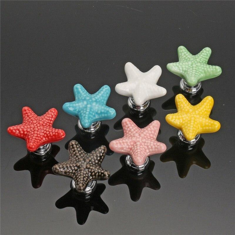 MTGATHER Star Ceramic Furniture Knobs Drawer Cabinet Cupboard Pulls Handle Kids Bedroom Multi Colors Ceramics