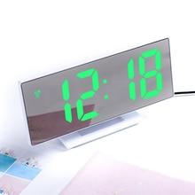 Multifunctional Digital Alarm Clock Table Desktop LED Mirror Snooze Display Time Night LCD Light