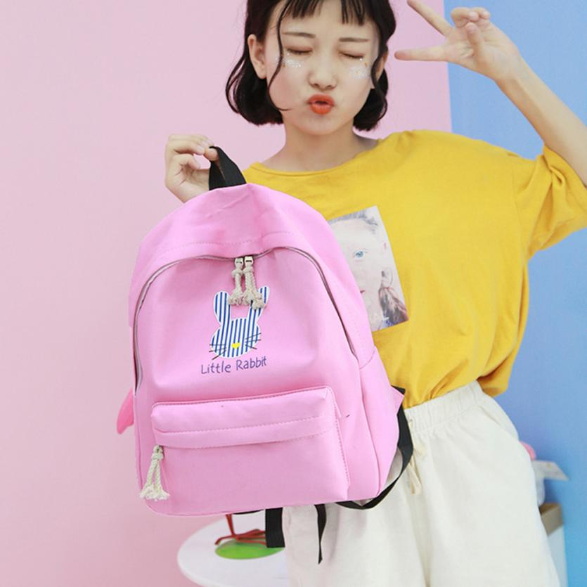 maison Backpacks high quality Nylon Girls Cute Cartoon Rabbit Preppy Style School Backpack Travel backpack women 2018MA15