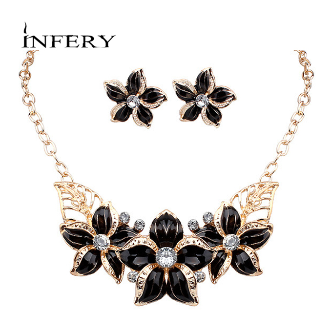Trendy new women 39 s crystal flowers jewelry set for women Trendy womens gifts 2015