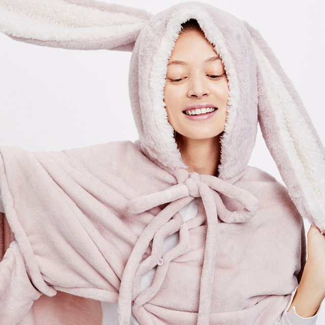 Cute Pink Comfy Blanket Sweatshirt Winter Warm Adults and Children Rabbit Ear Hooded Fleece Blanket Sleepwear Huge Bed Blankets 2