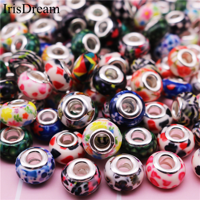 50 Pcs Lot 15 MM Fimo Clay Spacer Beads Plastic Resin Murano Glass beads Fit European Pandora Charms For DIY Bracelet Jewelry