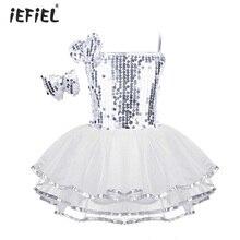 Детское балетное платье для девочек; Одежда для танцев; костюм с блестками; современная одежда для джазовых танцев; Сетчатое платье с заколкой для волос