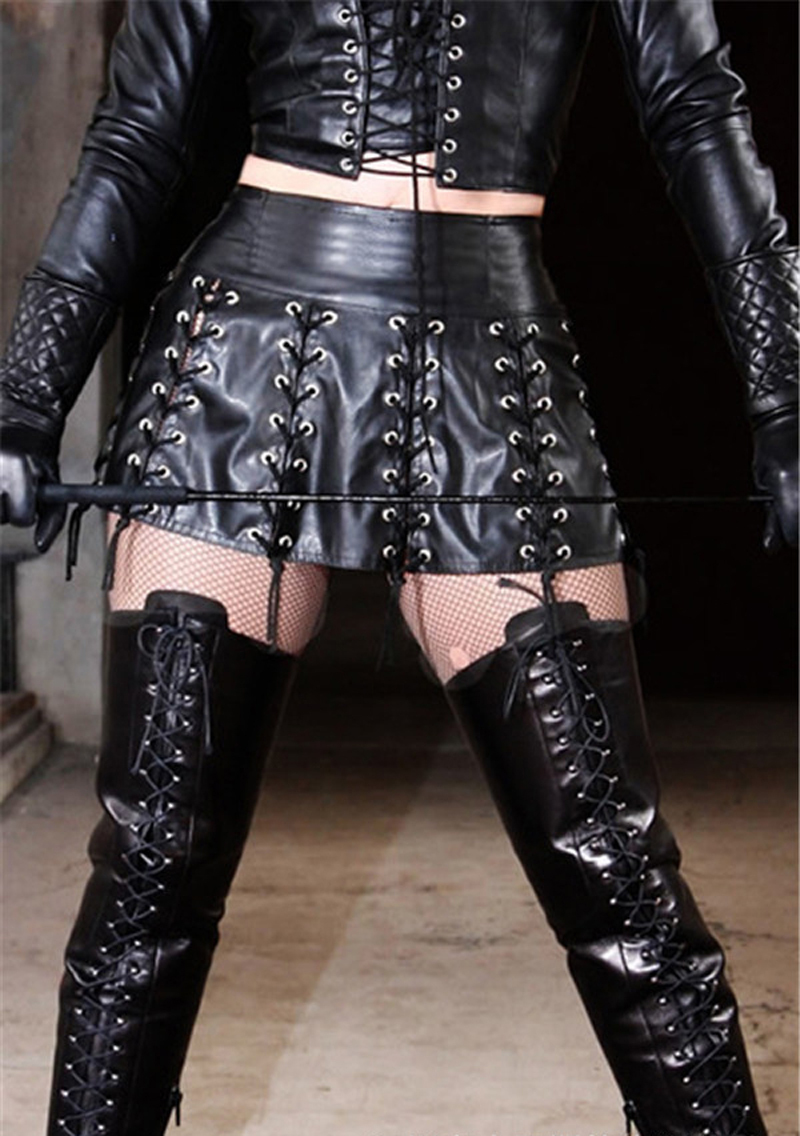 Newest Stylish Sexy Punk Rock Skirt Black Faux Leather