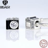 925 Sterling Silver Czarna Emalia Sentymentalna Migawek Aparat Charm Fit PAN Charm Bransoletka & Bangle DIY Biżuteria GOS182