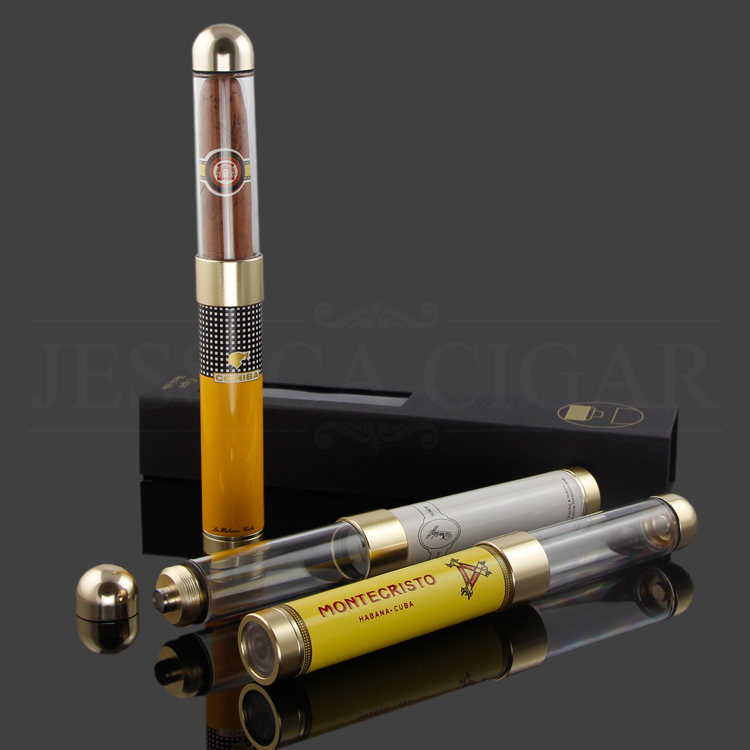 COHIBA Adjustable Cigar Tube Plastic Metal Portable Cigars Box Travel Humidor Single Holder Cigar Jar With Gift Box