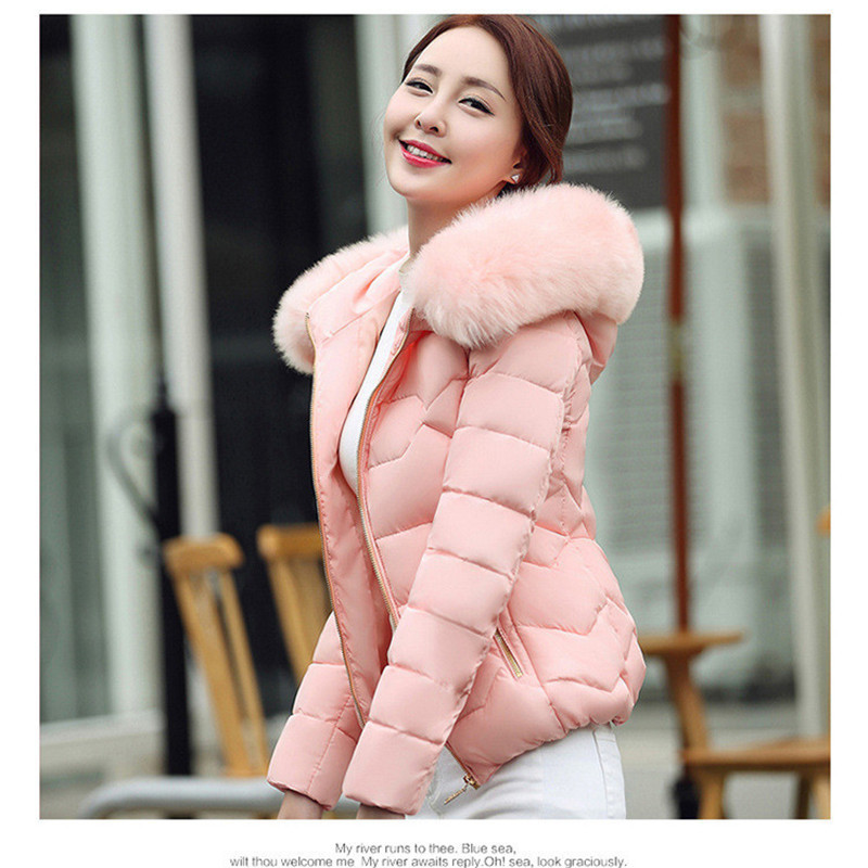 women winter jacket 2018 hooded plus size with fur collar warm thick   parka   cotton padded female fashion womens coat Y16