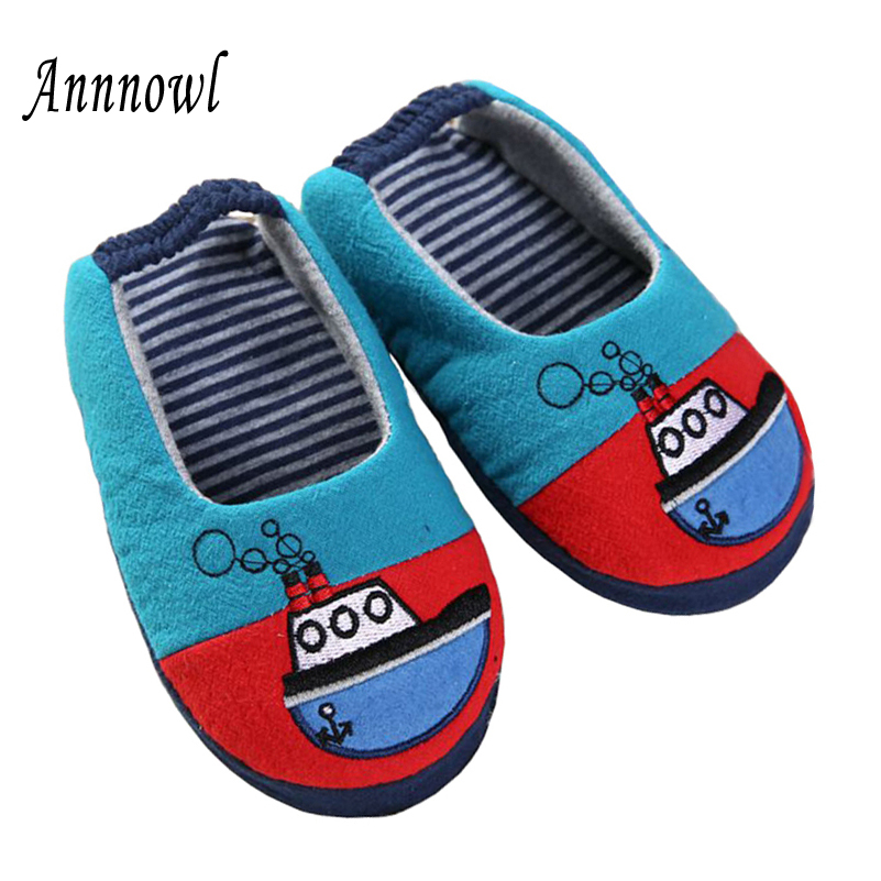Baby Slippers Kids Shoes for Toddler Unisex Cute Cartoon Boat Indoor Soft Rubble Sole Casual Garden Home Flats Children Slipper