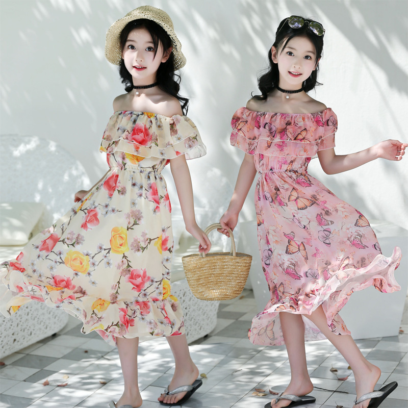 Kids <font><b>Girls</b></font> Summer New Long <font><b>Dress</b></font> Trend Flower Chiffon Bohemian <font><b>Dress</b></font> Fresh Korean Version <font><b>Princess</b></font> Sexy Word Collar Beach <font><b>Dress</b></font> image