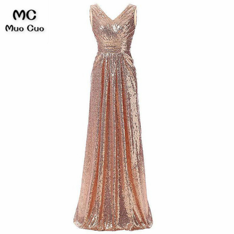 Shinning 2018 A-Line   Evening     Dresses   with Sequined Prom   Dresses   Long V-Neck Sleeveless Formal   Evening     Dress