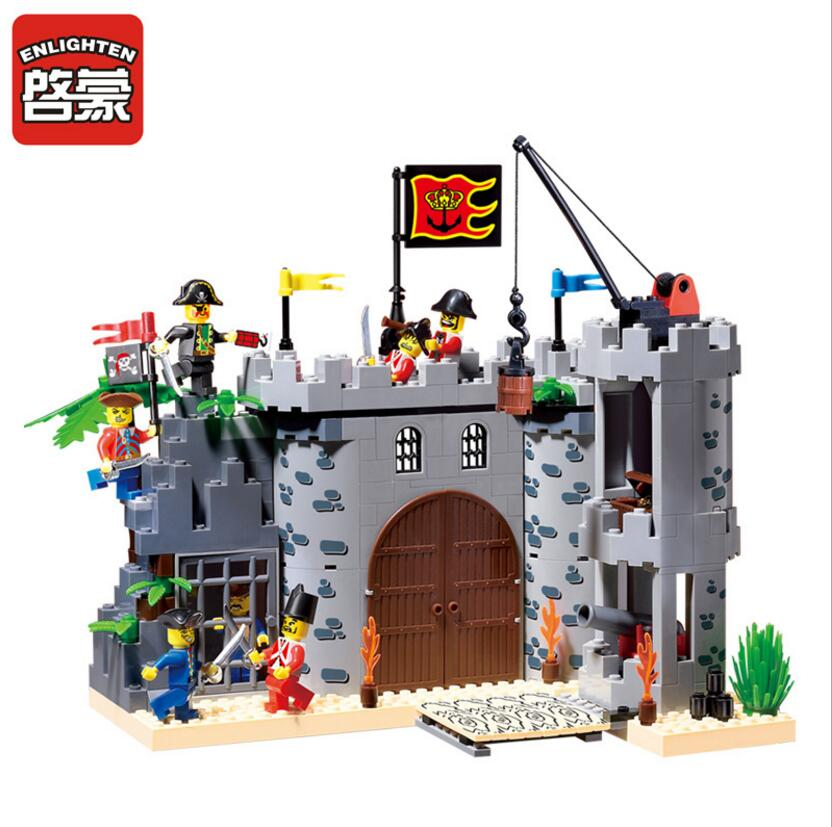 2017 Enlighten Pirates Of The Caribbean Barracks Castle Building Block sets Bricks Toys Gift For Children Compatible With Lepin 2017 enlighten city series garbage truck car building block sets bricks toys gift for children compatible with lepin