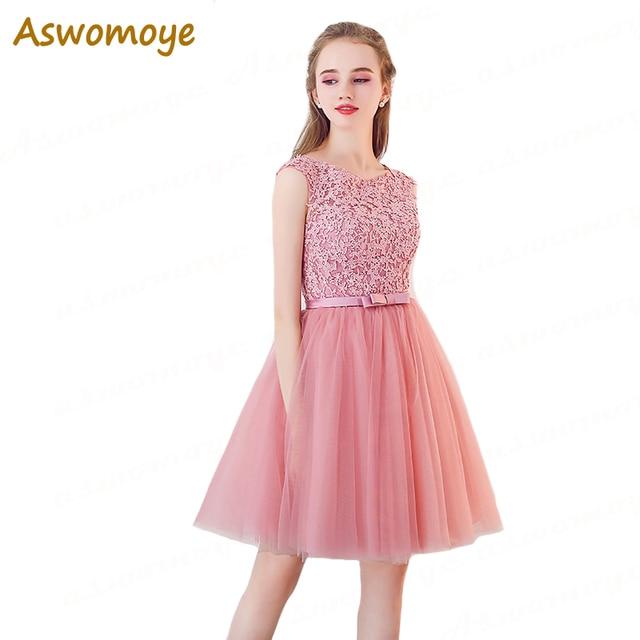 Rosa vestido de noche corto 2018 nueva moda Appliques floral ...