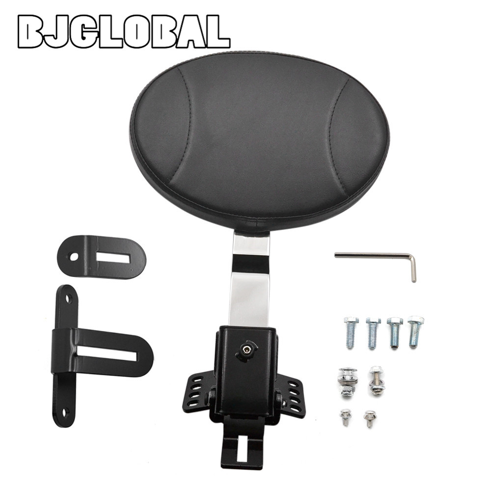 BJGLOBAL Motorcycle Adjustable New Plug In Driver Rider Seat Backrest Kit For Harley Touring Electra Road Street Glide Road King hard saddlebag lid led spoiler kit for harley touring electra street road glide