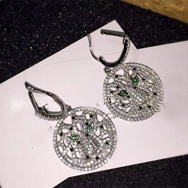 Дизайнер мода стерлингового серебра 925 платины покрытием 3A цирконий ну вечеринку пантера серьги