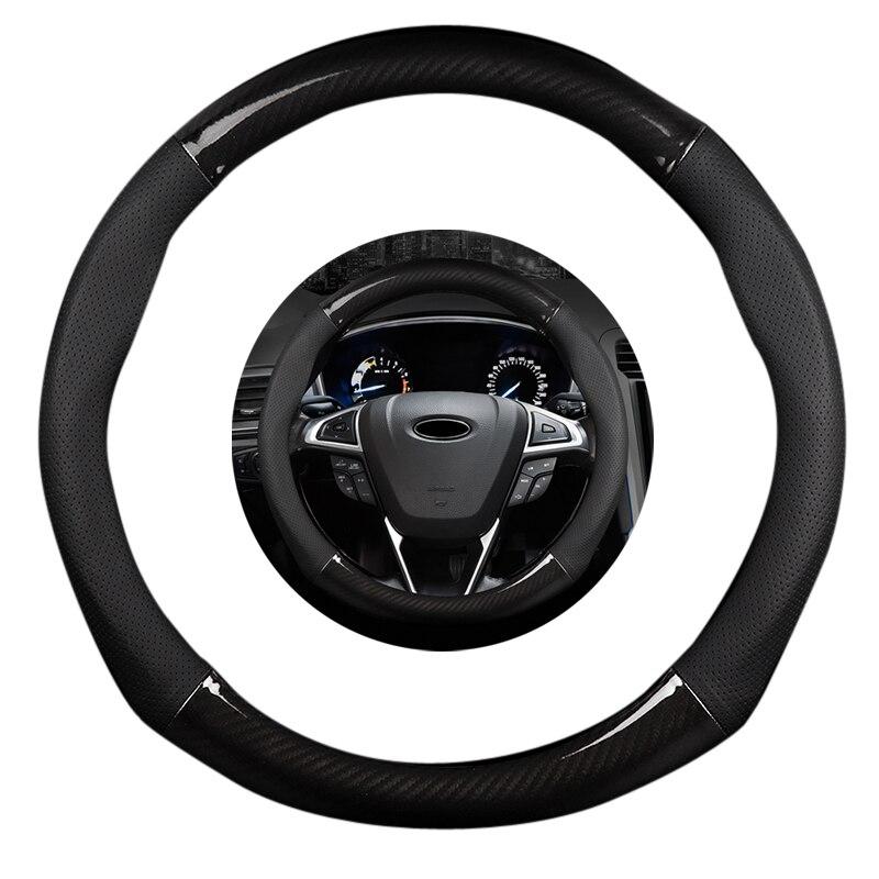 15 inch 38cm Non slip luxury Black Leather Carbon Fiber Car Steering Wheel Cover