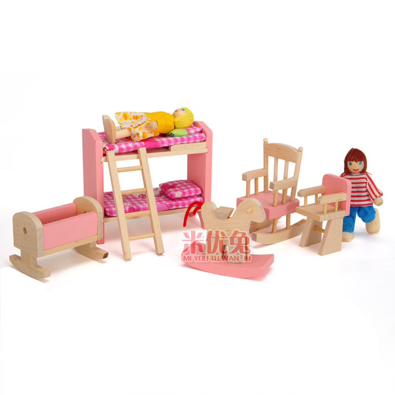 Pink Small Furniture Wooden Doll High and Low Bed Children Pretend Play Furniture Toys Set Early Childhood Education Dollhouse