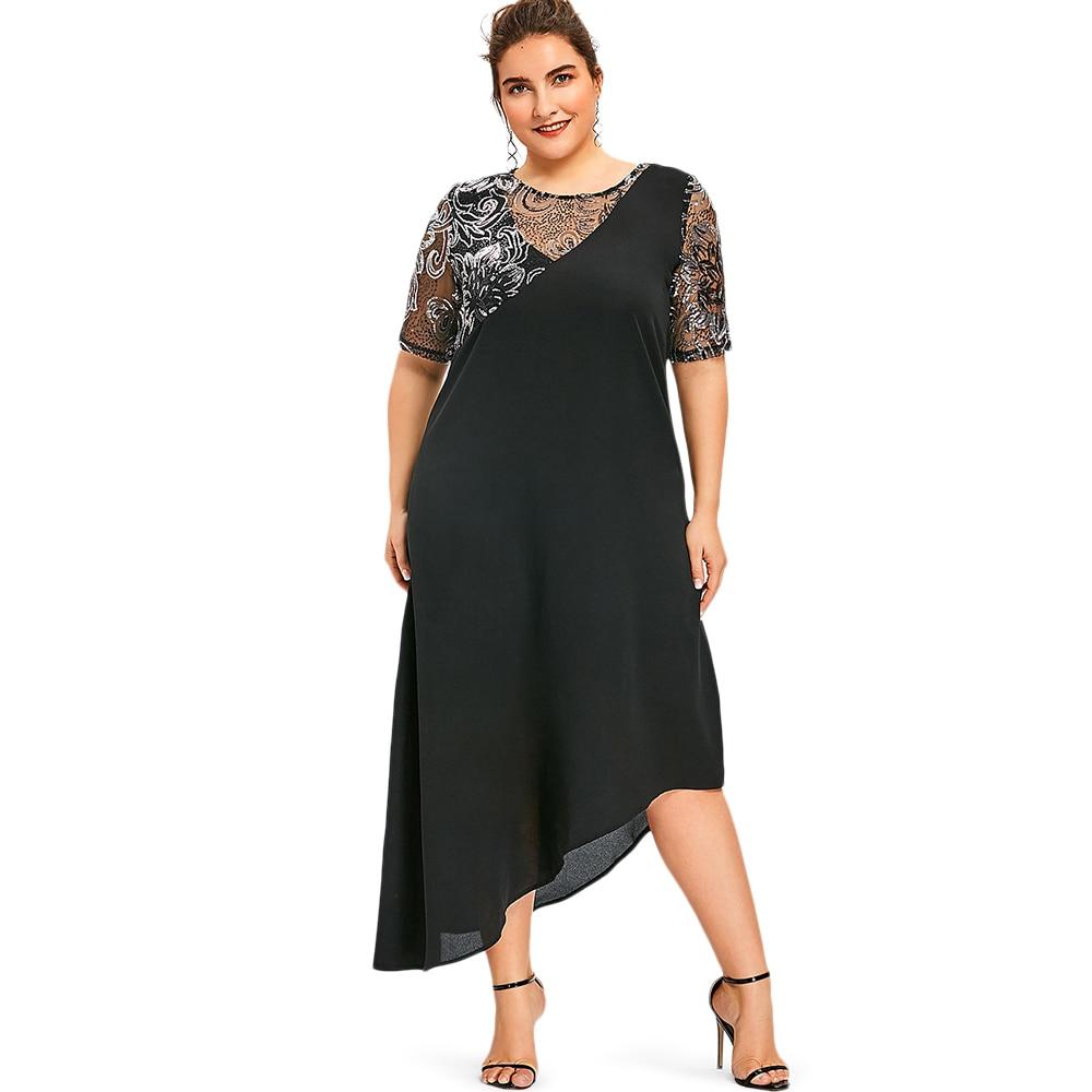 US $14.97 48% OFF|Wipalo Women Plus Size 5XL Sequined Asymmetric Maxi Party  Dress Half Sleeves Elegant Formal Robe Femme Summer Vestidos De Festa-in ...