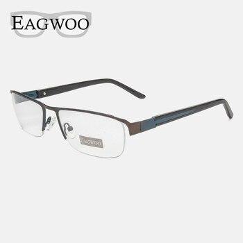 1365c13a92 Eagwoo cara ancha gafas mitad Rim marco óptico de gafas de ojo de gran  espectáculo con Templo de primavera D9172