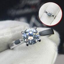 925 sterling silver Ring 1ct 2ct 3ct Classic Moissanite Lab Diamond Ring Round Cut Wedding ring Anniversary gift VVS1 Moissanite недорого