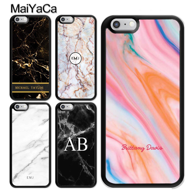 the latest 7a7cd e172b US $4.07 5% OFF|MaiYaCa Personalised Marble Initial Name Custom Phone Case  For Apple iPhone XS MAX X XR 8 7 6 6S Plus 5S SE Back Fundas Coque-in ...
