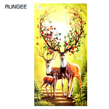 100% Hand Painted Abstract Milu Deer Art Painting On Canvas Wall Adornment Pictures For Live Room Home Decor