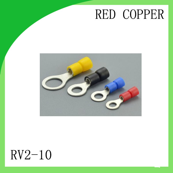Manufacture  red copper 1000 PCS RV2-10 Cold Pressed Terminal Connector Suitable for 16AWG - 14AWG  Cable lug