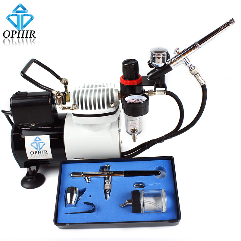 цена на OPHIR Multi-Purpose of Model Hobby Cake Decoration 0.3mm 0.35mm Dual Action Airbrush Kit with PRO Air Compressor _AC114+004A+072