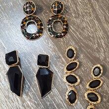 Miwens Za, полностью черные, металлические, Кристальные, акриловые, висячие серьги, для девушек, для девушек, ручной работы, вечерние, массивные ювелирные аксессуары A568