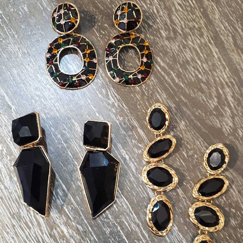 Miwens Za 2019 All Black Color Metal Crystal Acrylic Drop Earrings Lady Girls Handmade Party Statement Jewelry Accessories A568