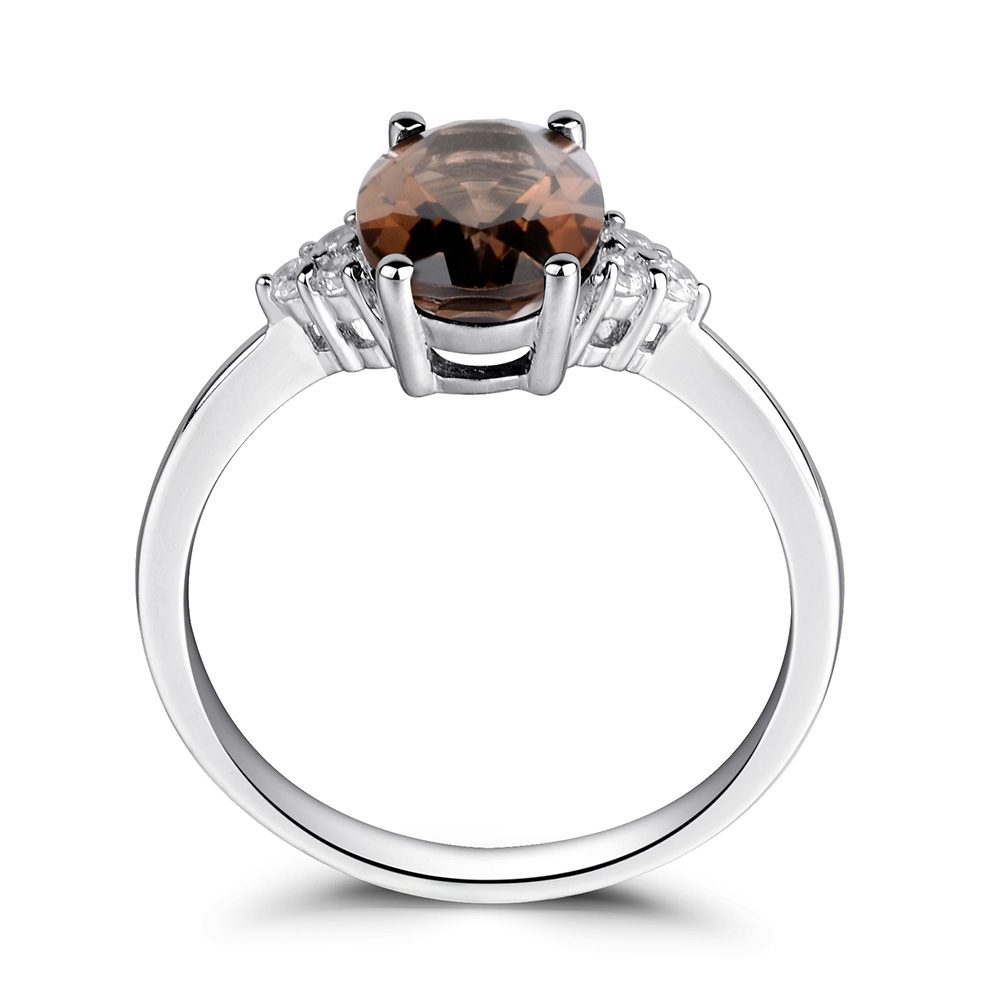 fine women brown rings sterling shaped item promise in from jewelry silver ring gemstone leige smoky quartz oval engagement for