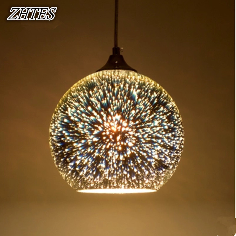 Modern Led 3d Glass Ball Pendant Light Colorful Plated