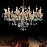 Modern Crystal Chandelier Hanging Chain Crystal Lamp Bedroom Living Room Lamp Candle Lamp