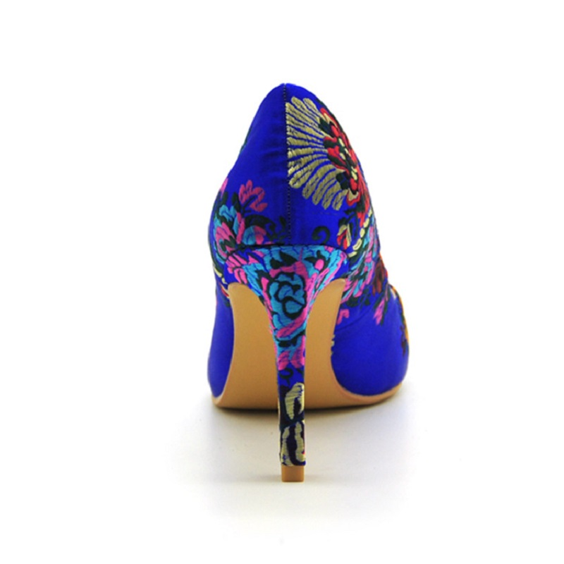 Mode Bleu Floral Peu National Haute Talons Vent Bouche Profonde q5RjLc34A