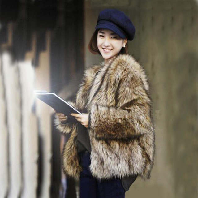 Best selling! 2015 winter new fashion women faux fur coat Brown Luxurious slim warm fox fur jacket  plus size fur coat S~3XL