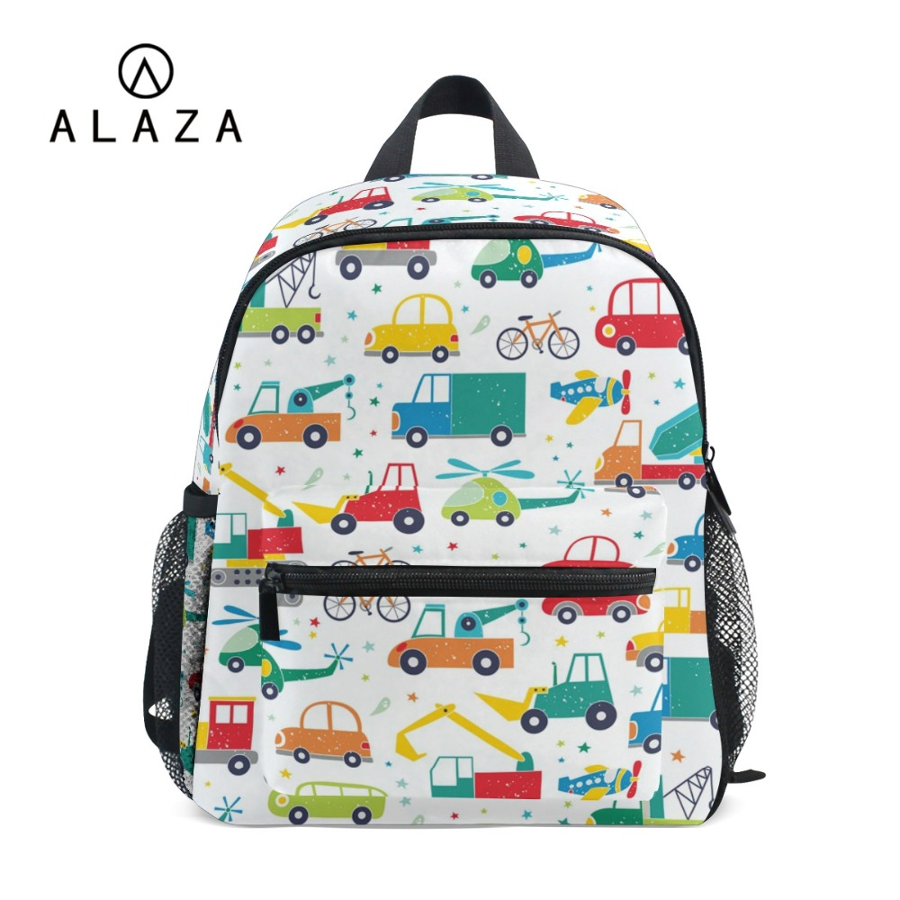 ALAZA 2018 Backpacks For Kindergarten Boys Girls Car Printing Polyester Children Backpacks School Bags Fits 3-8 Years Old Kids