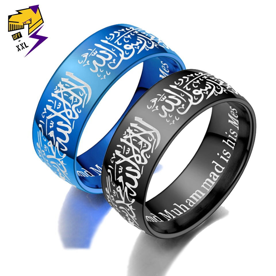 Spirited Muhammad Allah Islam Muslim Rings Band Blue Stainless Steel Arabic Aqeeq Shahada God Quran Middle Eastern The One Lovers Ring Fine Craftsmanship Engagement Rings