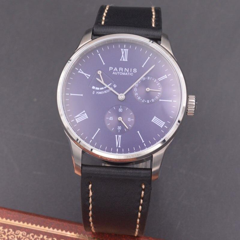 цена Parnis 42mm watch purple dial Seagull Movement parnis Automatic mechanical men watch Power Reserve watch PN-614 онлайн в 2017 году