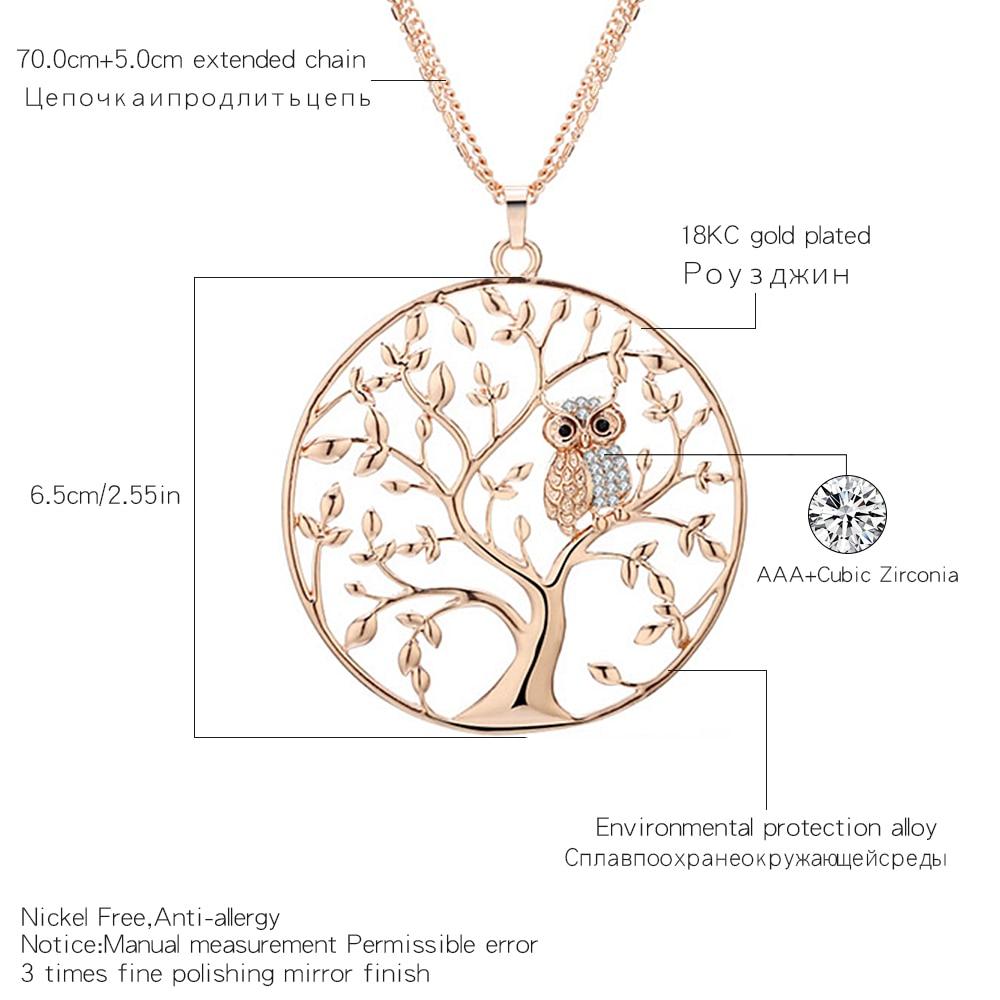 Owl halskjede Kvinner 2018 Fashion Tree Of Life Gull Smykker Sølv - Mote smykker - Bilde 2