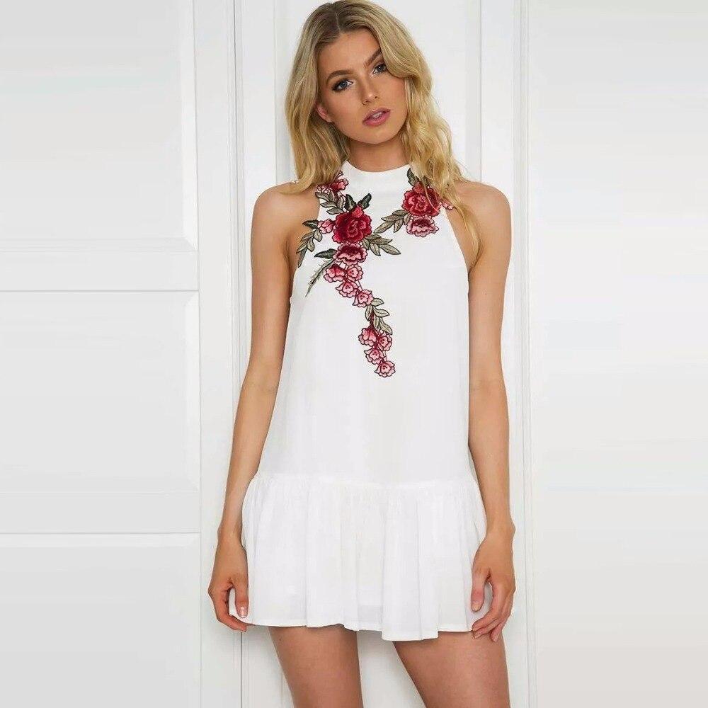 Embroided dress print chiffon sleeveless turtleneck for Sleeveless dress shirt womens
