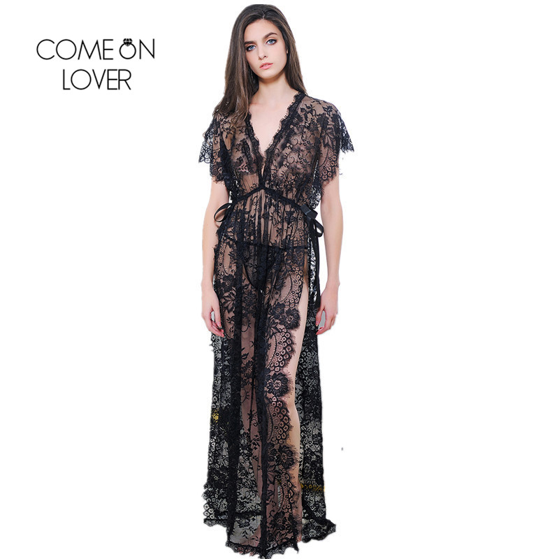 Comeonlover Side Split Womens Robes Sleepwear Short Sleeves Lace Lingerie Dress Long Ankle Lenght Gowns For Women Dormir RT80262 plus size women in leather