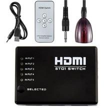 Aikexin 4 K 5X1 HDMI Switch com controle remoto IR, 5 entrada 1 saída Switch HDMI 5 portas Switcher Hub Suporte Ultra HD 4 K e 1080 P, 3D