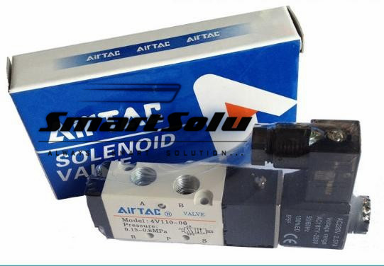 Free Shipping 4V110-06 Air Solenoid Valves 1/8 BSP 5 Way 2 Position DC 12V 24V AC 110v 220v