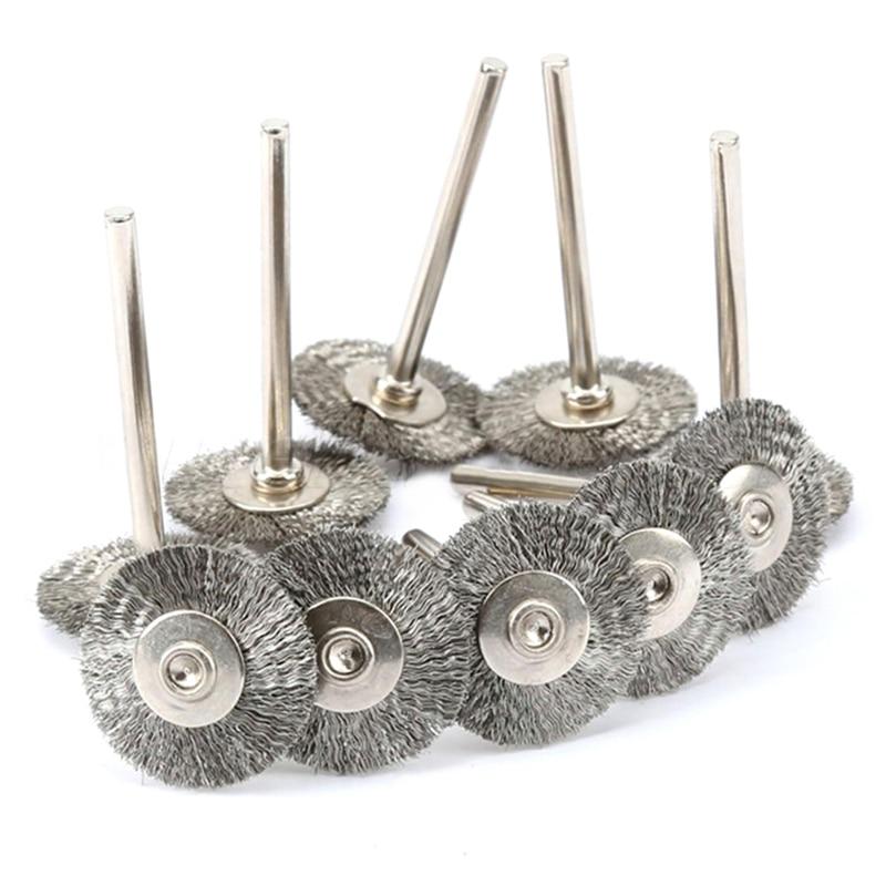 10vnt plieninių vielinių ratų šepetėlių dremel įrankių priedai sukamasis įrankių vielos diskas, skirtas mini gręžimo įrankių elektriniam šlifavimui