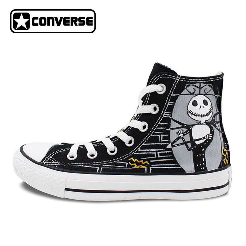 The Nightmare before Christmas Black Sneakers Men Women Converse Chuck Taylor Hand Painted Shoes Man Woman High Top Canvas Shoes