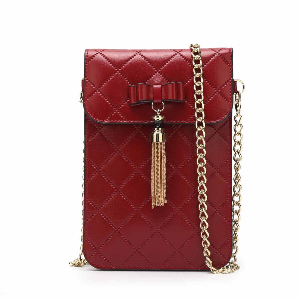 BISONJS inek derisi omuz çantaları kadınlar için püskül telefon kızlar çanta kadınlar için Crossbody çanta kapitone Mini askılı çanta B9320