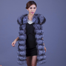 lady silver real fox wool fur long vest autumn winter women kaross horizontal stripe wool sweater genuine natual thick warm coat