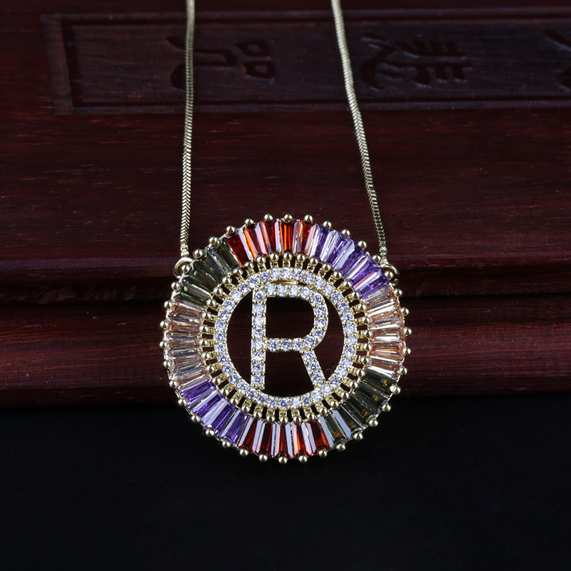 1 Pcs New Fashionable Gold Micro Pave Rainbow CZ Cubic Zirconia A-Z Name Initials Letter Pendant Necklaces For Women Jewelry
