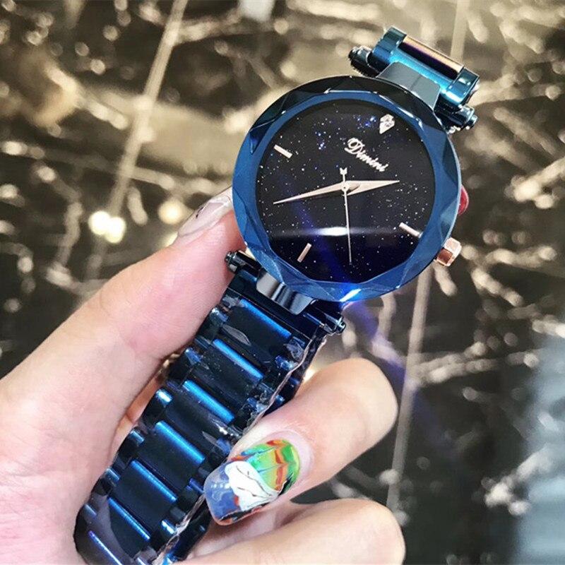 Multi facettes cristal verre femmes robe montres Anti-décoloration complet bleu acier Bracelet Montre nouvelle marque Quartz Montre-Bracelet Montre Femm