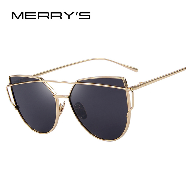 e55b7288a7 MERRYS Fashion Women Cat Eye Sunglasses Classic Brand Designer Twin-Beams  Sunglasses Coating Mirror Flat Panel Lens S7882